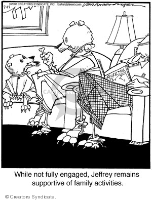 While not fully engaged, Jeffrey remains supportive of family activities.