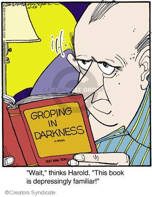 "Groping in Darkness. ""Wait,"" thinks Harold. ""This book is depressingly familiar!"""