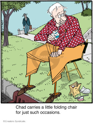 Chad carries a little folding chair for just such occasions.