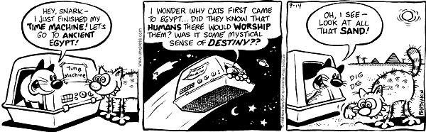 Hey, Snark--I just finished my time machine!  Lets go to ancient Egypt!  Time machine.  I wonder why cats first came to Egypt…Did they know that humans there would worship them?  Was it some mystical sense of destiny??  Oh, I see--look at all that sand!  Dig dig.
