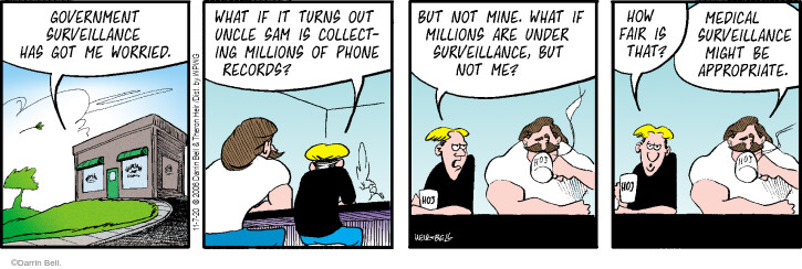 Government surveillance has got me worried. What if it turns out Uncle Sam is collecting millions of phone records? But not mine. What if millions are under surveillance, but not me? How fair is that? Medical surveillance might be appropriate.