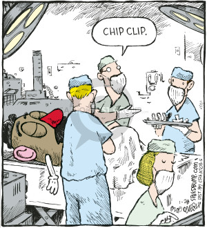 Chip clip. (Mr Potato Head is having surgery and the surgeon is asking for a chip clip).