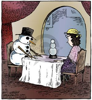No Caption. (A snowman peers into a crystal ball that is in the shape of a snowman. A fortune teller sits at the table with him.)